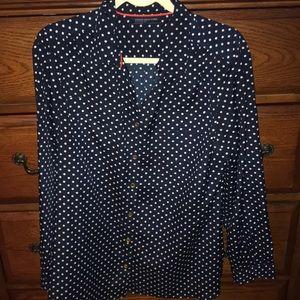 Navy blue polka dot Jones New York blouse